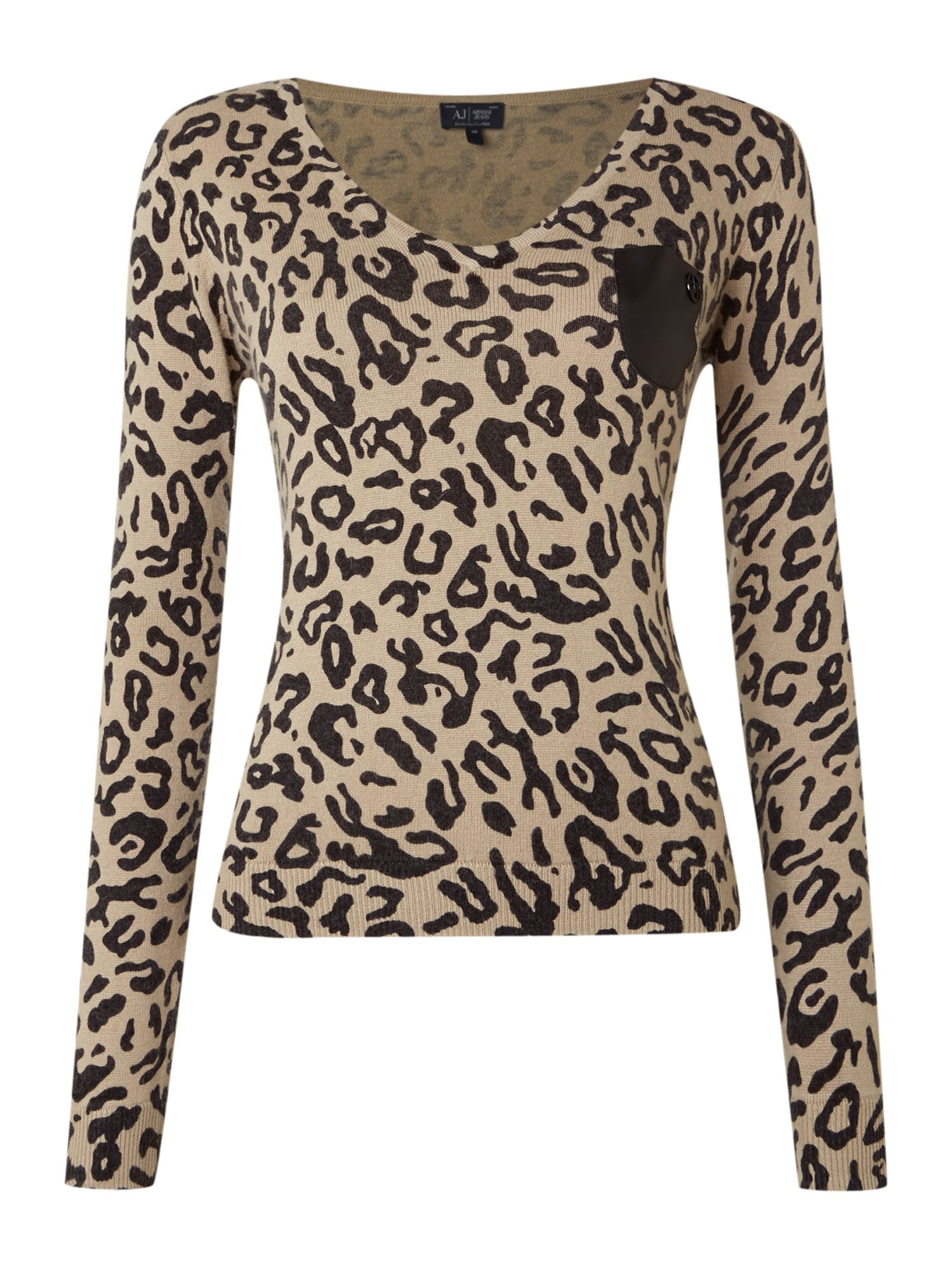 Long sleeve V neck leopard top with PU pocket