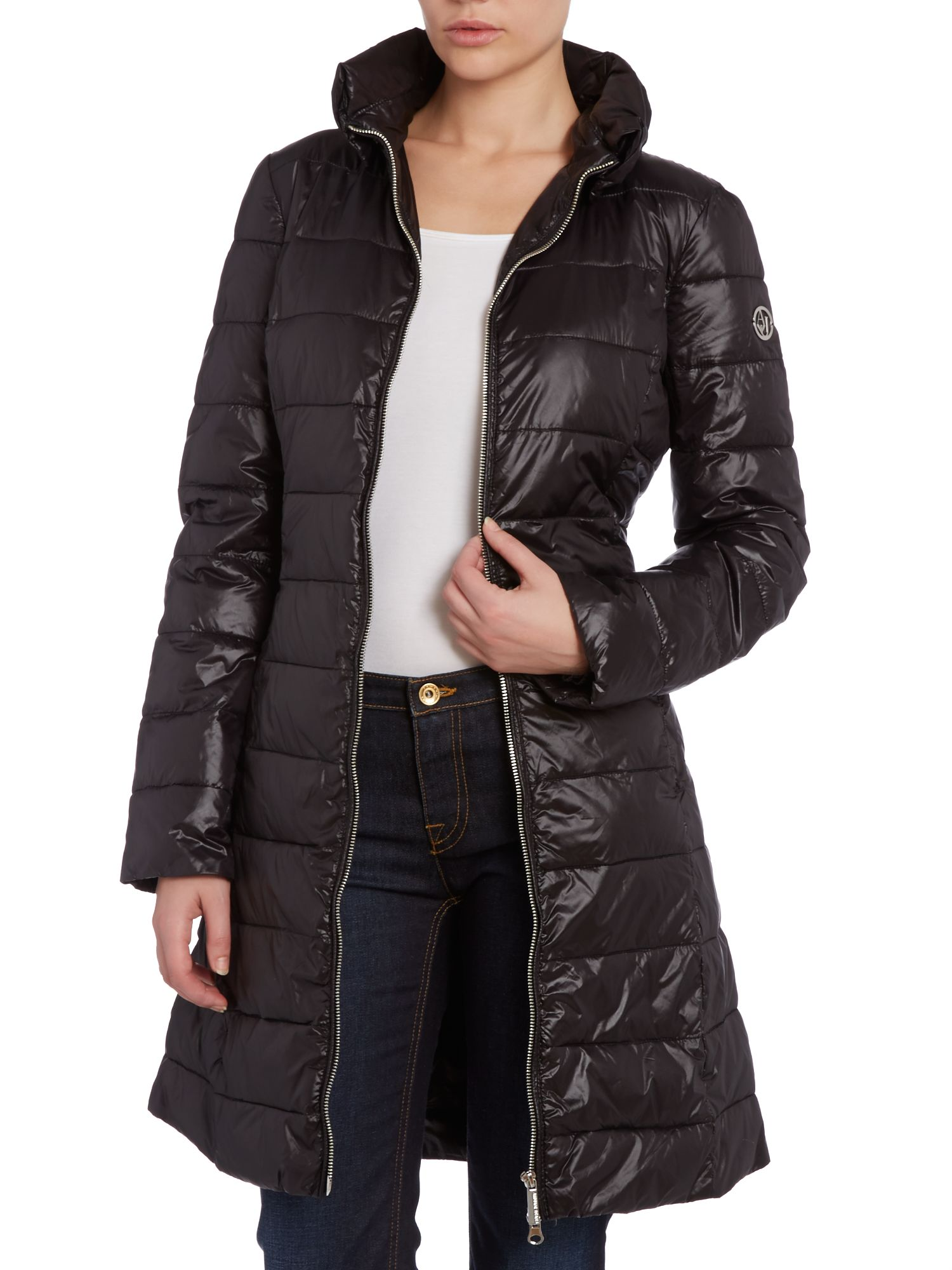 Long padded coat with high shine