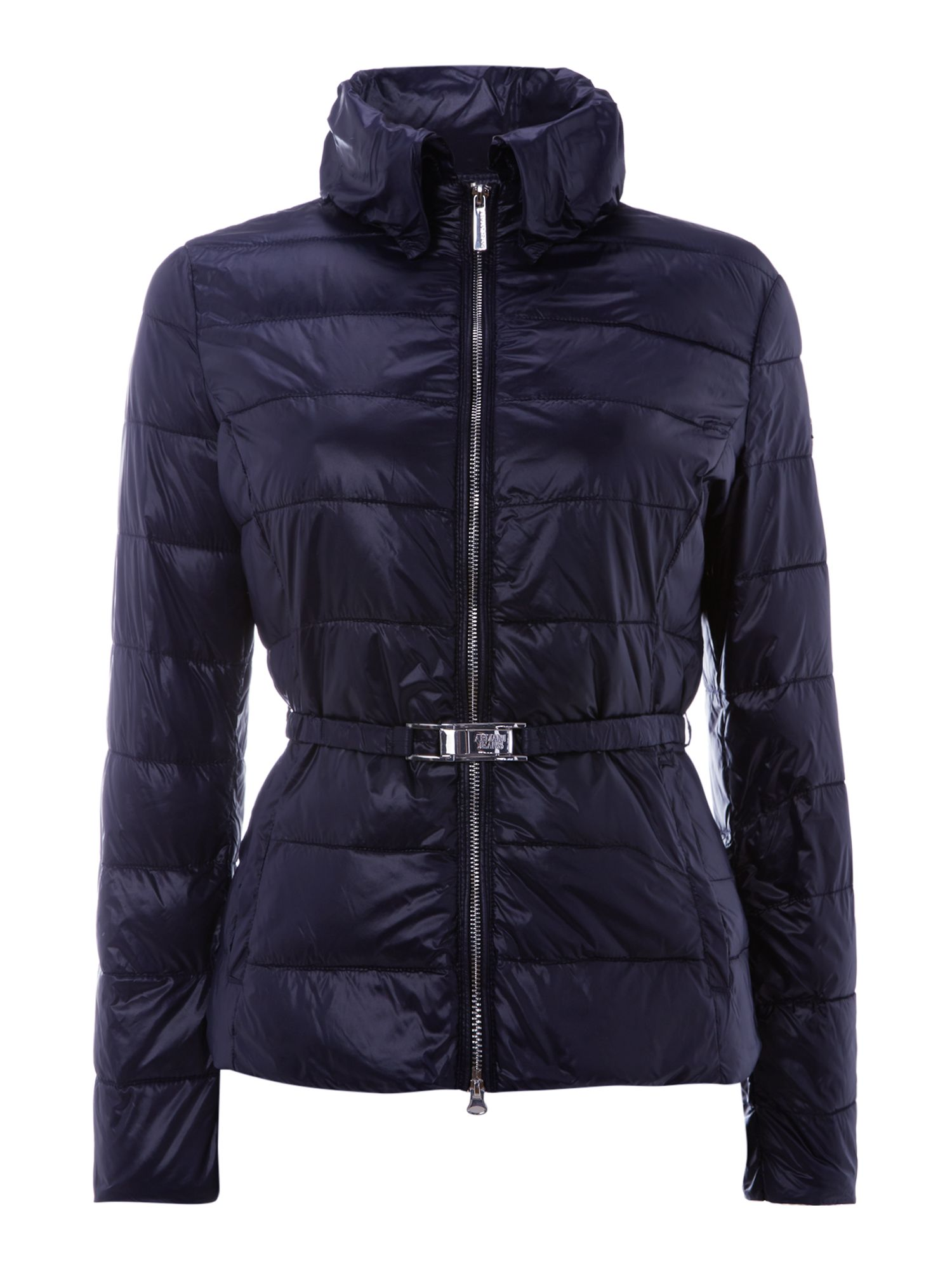 Short padded coat with high shine