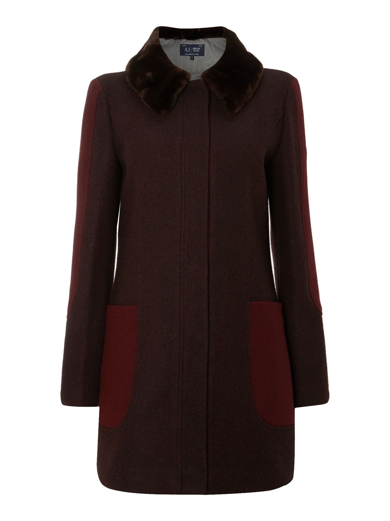 Wool coat with a fur collar