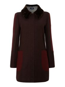 Wool coat with faux fur collar