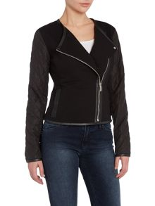 Long sleeve jacket with quilted sleeves