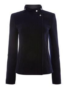 Short wool jacket with contrasting lining