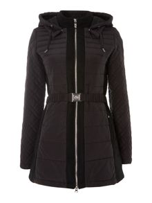 Long padded coat with belt and quilted sleeves