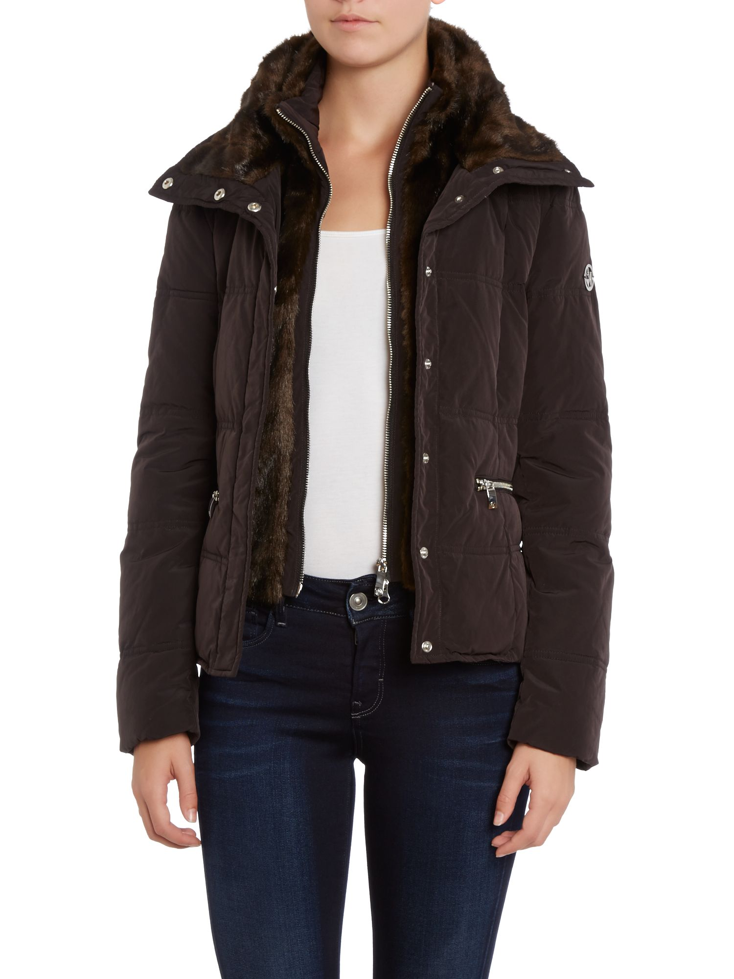 Short padded coat with fur collar
