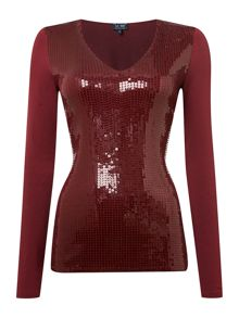 Long sleeve v neck knit with sequin front