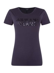 Short sleeve sequin logo tee