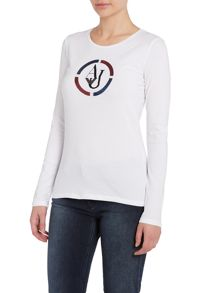 Long sleeve crew top with sequin logo
