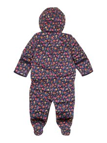 Baby girls quilted floral snowsuit