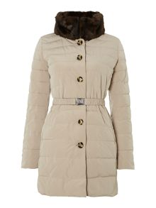 Long padded coat with reversible faux fur