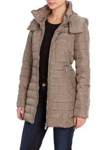 Long padded coat with lurex trim