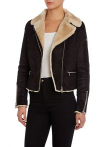 Short shearling coat with contrast trim