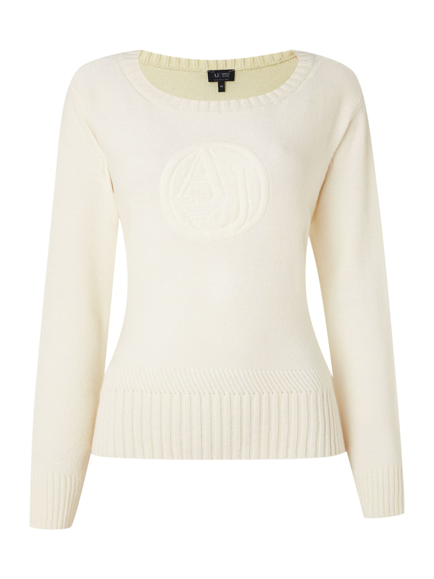 Long sleeve knit with heavy embossed logo