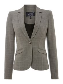 Checked jacket with embellished lapel