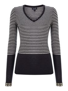 Long sleeve stripe v neck knit with jewel sleeves