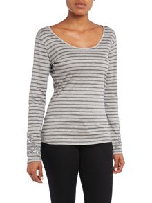 Long sleeve stripe top with sequin sleeves