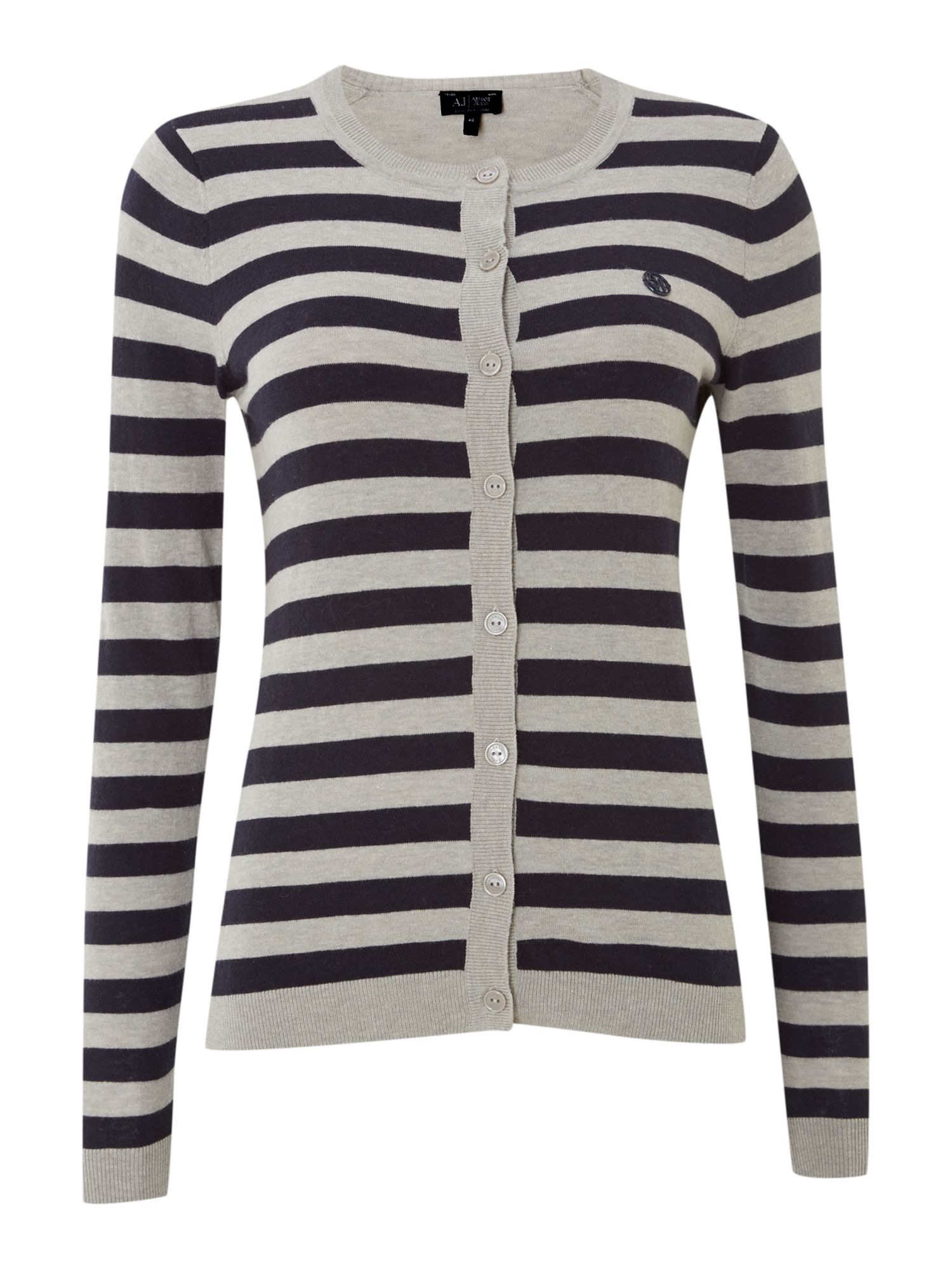 Long sleeve stripe cardigan with a logo