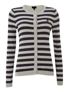 Long sleeve stripe logo cardigan