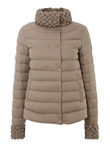 Short padded coat with bobble trim