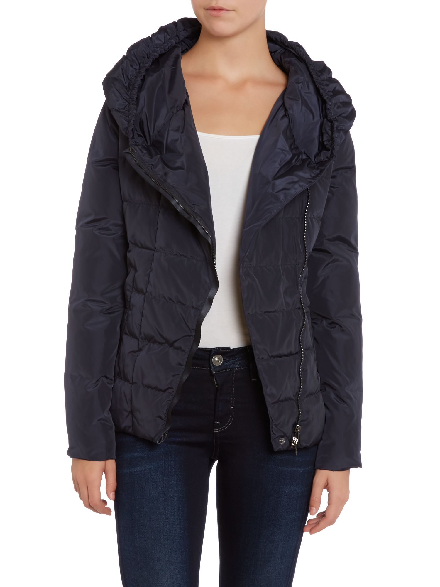 Short padded coat with asym zip