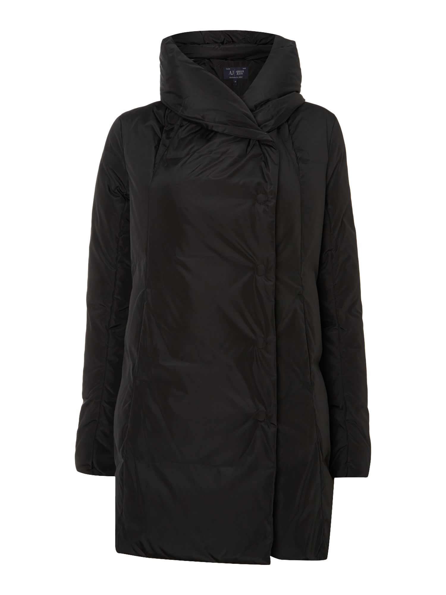 Long padded coat with a big collar