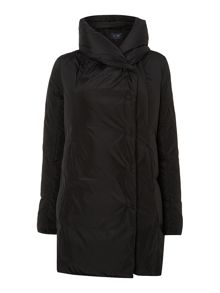 Long padded coat with big collar