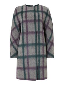 Grey check wool coat