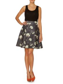 Floral Print Quilted Skirt
