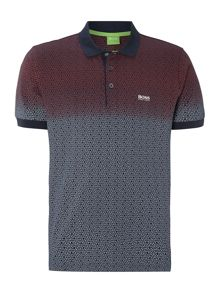 All over hexagon ombre polo shirt