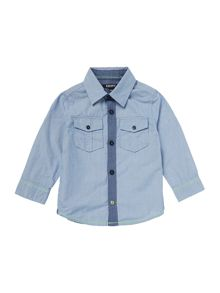 Baby boys poplin striped long rolled-up shirt