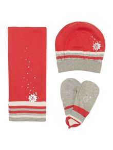 Girls knitted hat, gloves and scarf set