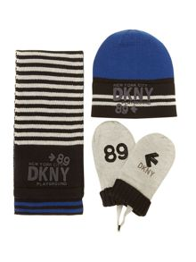 Boys set of knitted hat gloves and scarf
