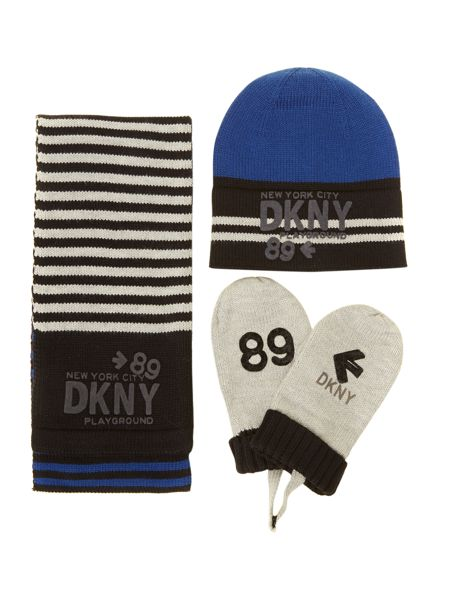 DKNY Boys set of knitted hat gloves and scarf