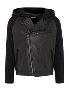 Boys bi-material fleece and faux-leather