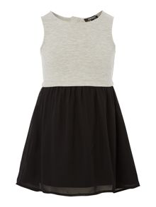 Girls bi-material sleeveless dress