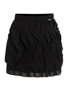 Girls crepe flounced skirt