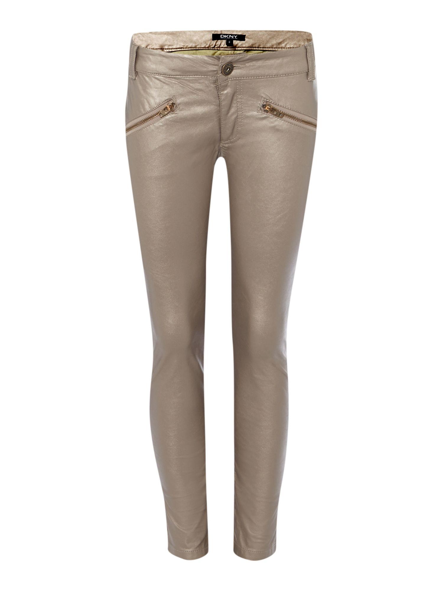 Girls faux leather slim trousers