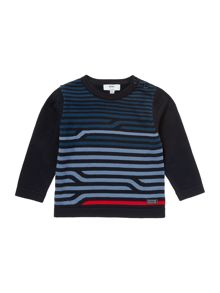 Baby boys striped pima cotton knitted sweater