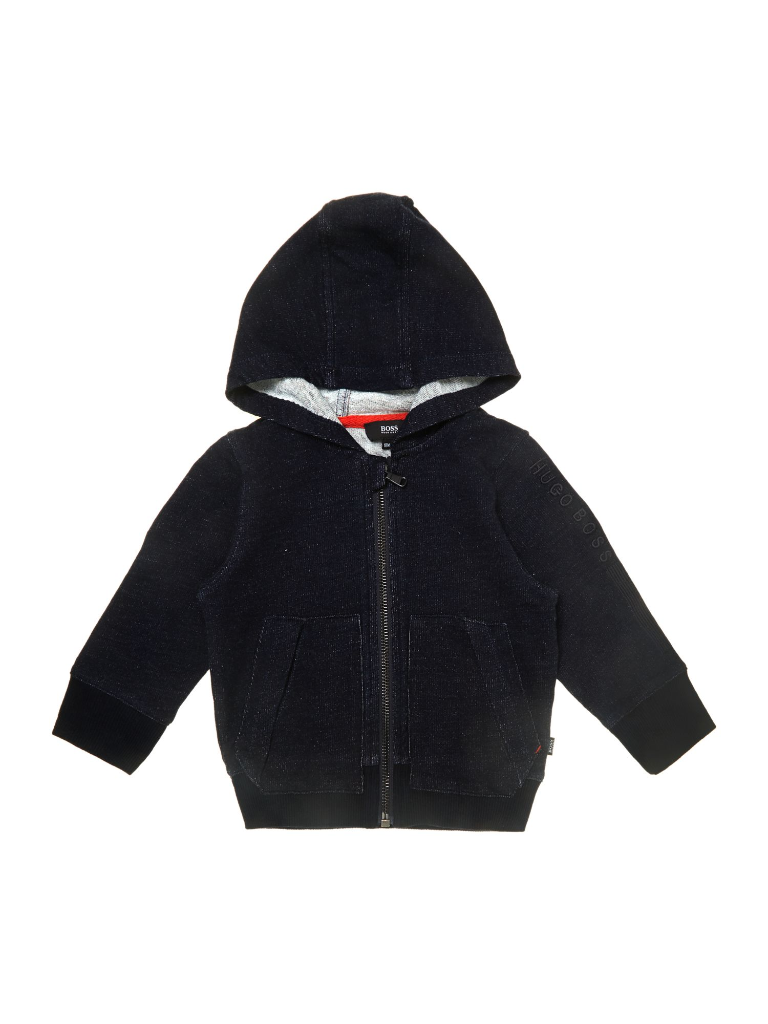 Boys denim fleece long sleeve cardigan