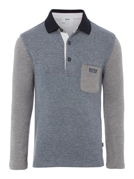 Hugo Boss Boys cotton piqué long sleeve polo shirt