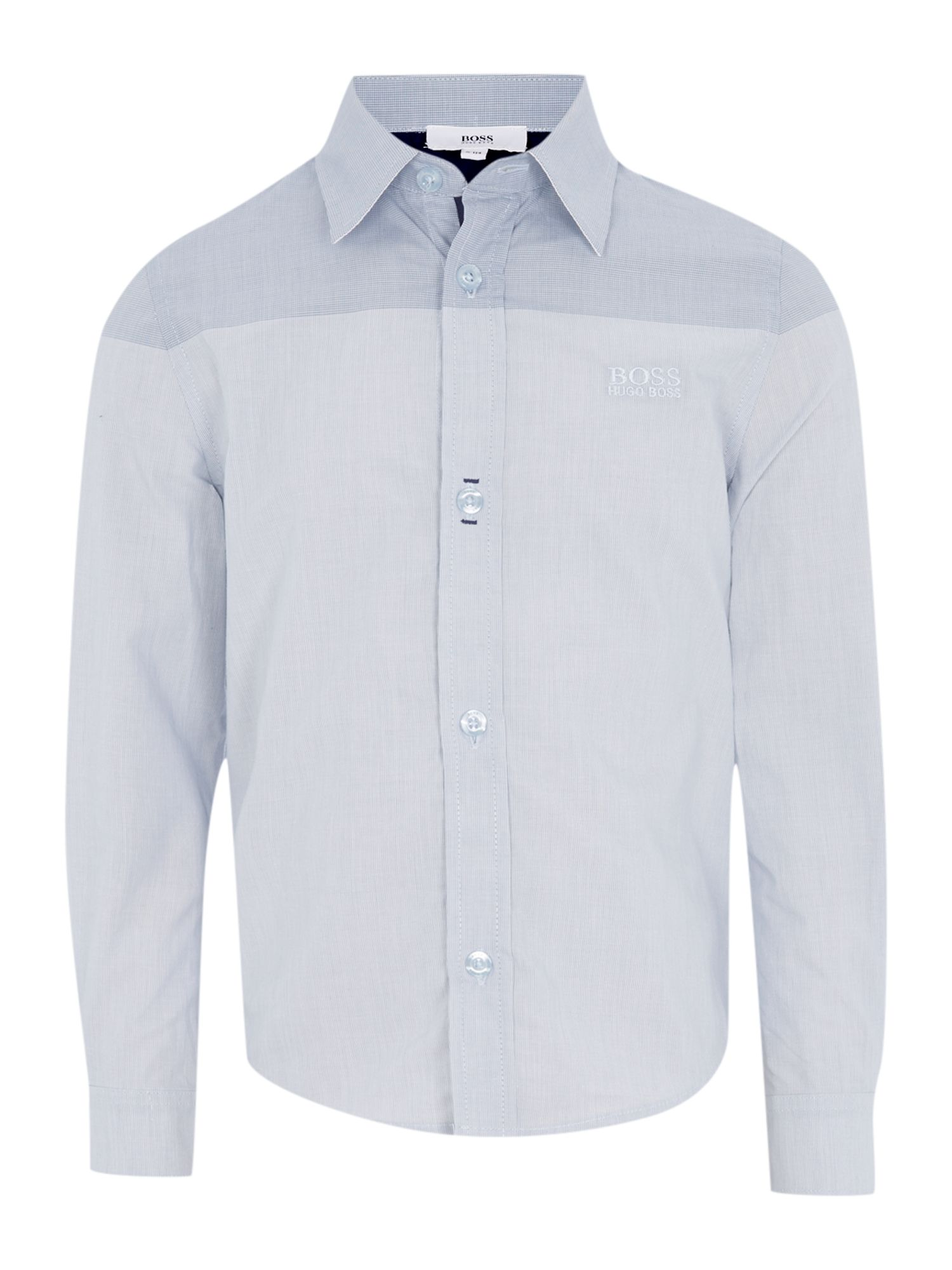 Boys check poplin long sleeve shirt