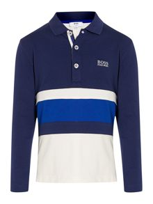 Boys striped long sleeve polo shirt