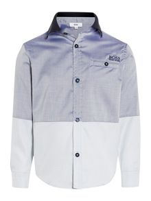 Boys two tone long sleeve oxford shirt