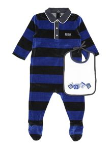 Baby boys set of terry velvet pyjamas and bib