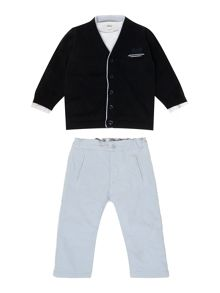 Baby boys t-shirt, trousers and cardigan set