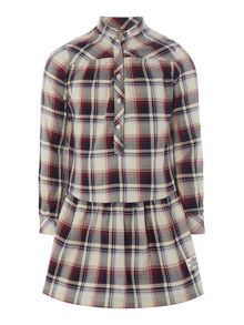 Girls checked poplin long rolled up sleeve dress