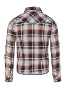 Girls poplin checked long sleeve shirt