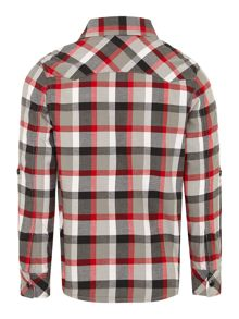 Boys poplin checked long rolled-up sleeve shirt