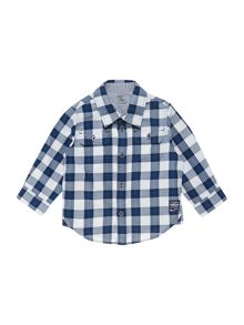 Baby boys twill checked long sleeve shirt