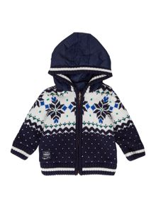 Baby boys knitted long sleeve reversible cardigan